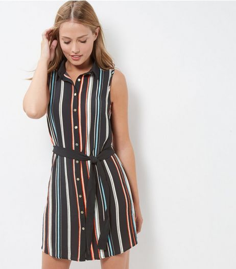 Cameo Rose Blue Stripe Sleeveless Shirt Dress | New Look