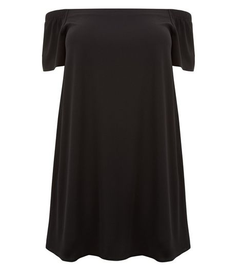Curves Black Bardot Dress | New Look