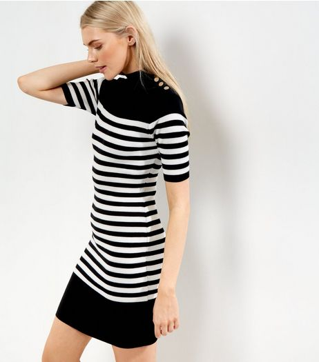 Black Stripe Print Button Neck Bodycon Dress | New Look