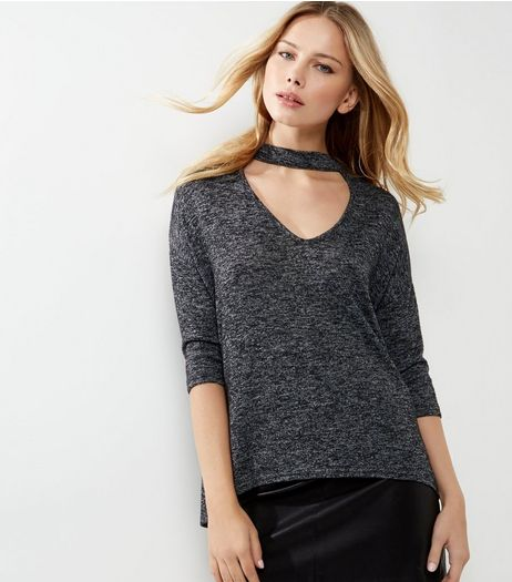 Dark Grey Choker Neck 3/4 Sleeve Top | New Look