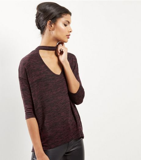 Burgundy Choker Neck 3/4 Sleeve Top | New Look