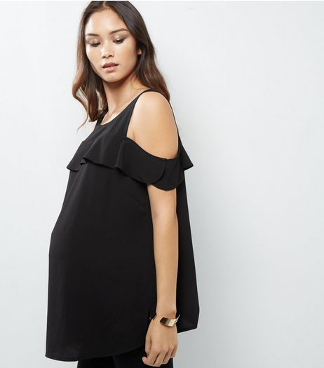 Maternity Black Frill Trim Cold Shoulder Top  | New Look