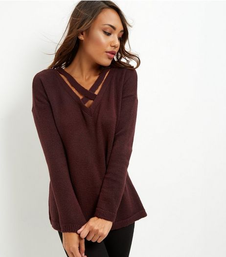 Burgundy Cross Strap Front Jumper | New Look