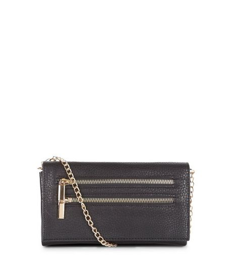 Black Textured Leather-Look Doulbe Zip Clutch | New Look