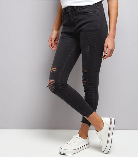 Black Extreme Ripped Skinny Jeans | New Look