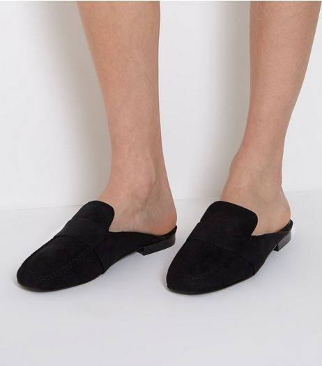 Wide Fit Black Suedette Mule Loafers | New Look
