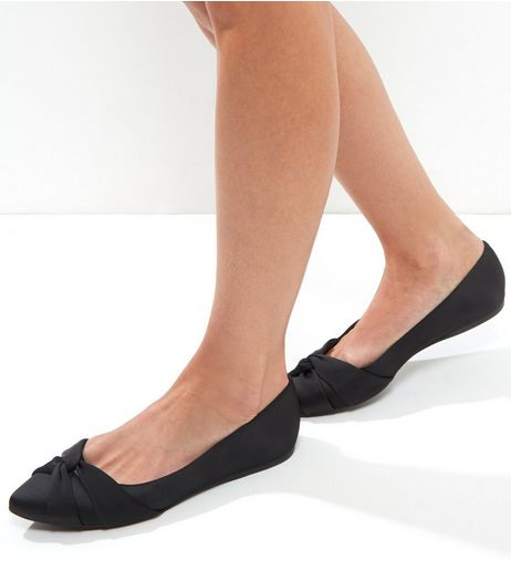 Wide Fit Black Sateen Knot Front Pumps | New Look