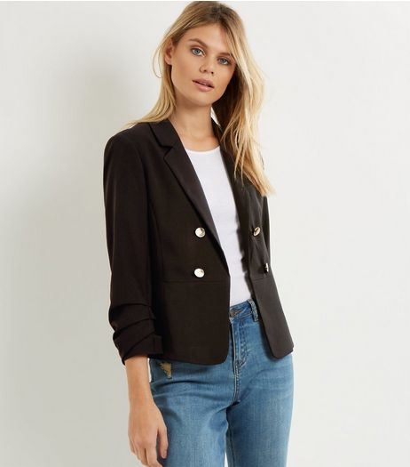 Black Military Ruched Sleeve Jacket  | New Look