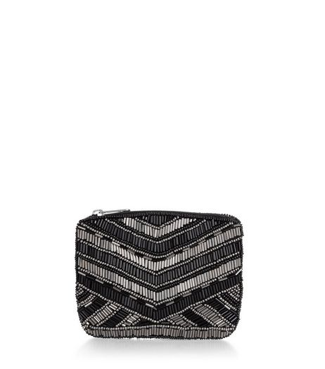 Black Embellished Bead Zip Top Purse | New Look