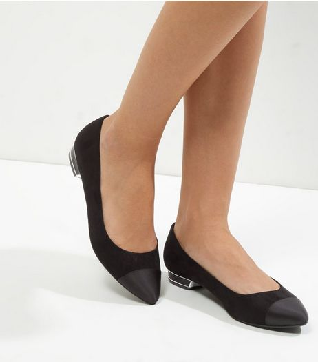 Wide Fit Black Suedette Metal Trim Heel Pointed Pumps | New Look