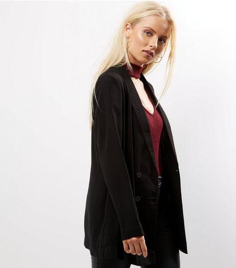 Black Crepe Longline Blazer  | New Look