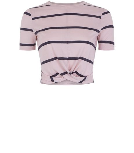 Teens Pink Stripe Twist Front T-shirt | New Look