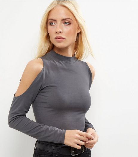 Dark Grey Cold Shoulder Long Sleeve Top  | New Look