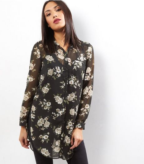 Black Floral Print Longline Shirt  | New Look