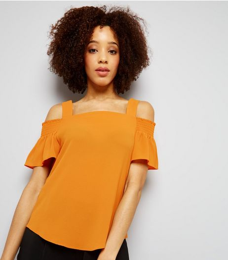 Yellow Short Sleeve Cold Shoulder Top  | New Look