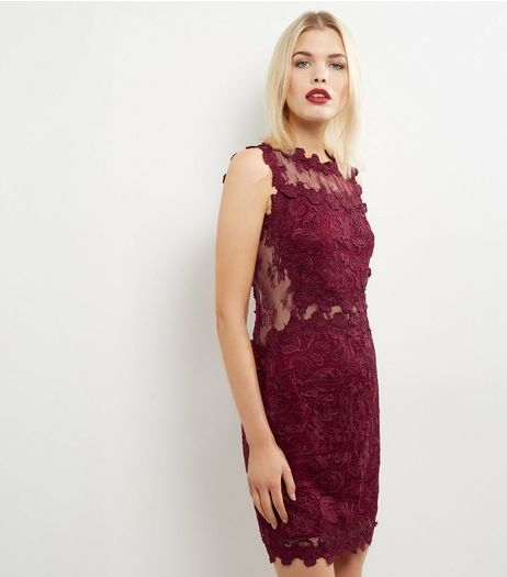 Blue Vanilla Burgundy Lace Sheer Panel Dress | New Look
