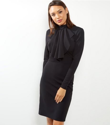 Blue Vanilla Black Ruffle Front Funnel Neck Dress | New Look