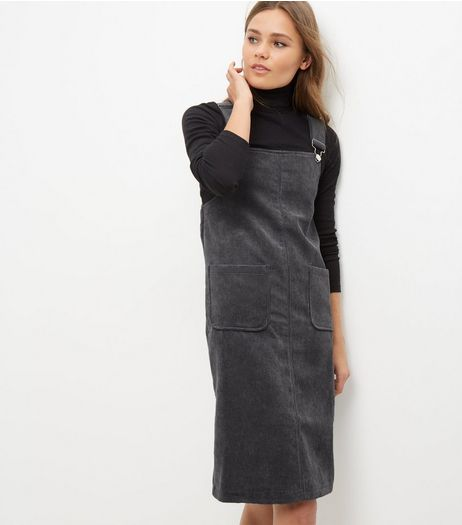 Blue Vanilla Dark Grey Cord Pinafore Dress | New Look