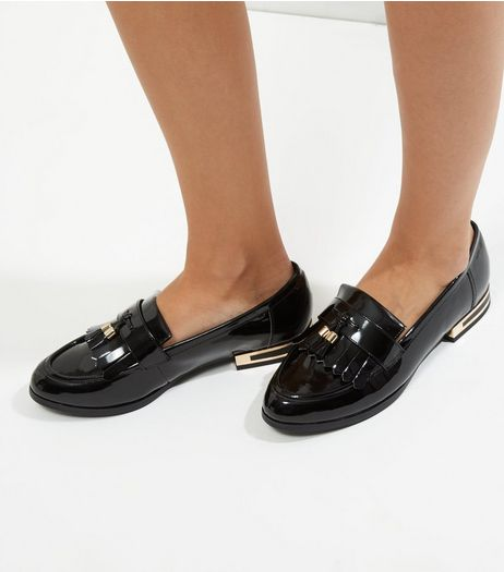 Wide Fit Black Patent Metal Heel Trim Loafers | New Look