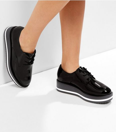 Wide Fit Black Patent Platform Lace Up Brogues | New Look