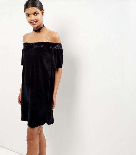 Black Velvet Bardot Neck Dress | New Look