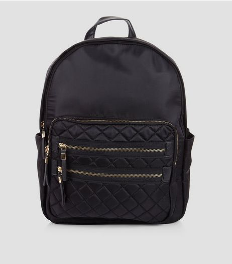 Black Quilted Double Zip Front Backpack  | New Look