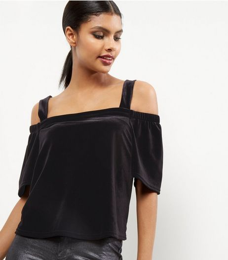 Black Velvet Cold Shoulder Top | New Look