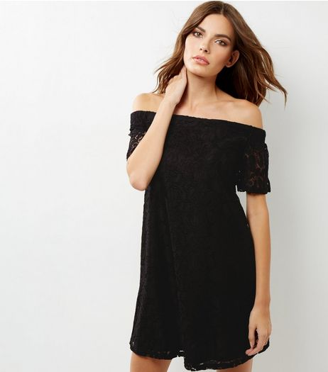 Black Lace Bardot Neck Dress | New Look