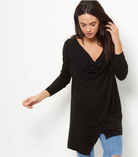 Apricot Black Wrap Drape Jumper | New Look