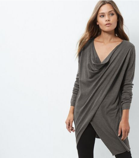 Apricot Dark Grey Wrap Front Drape Jumper | New Look