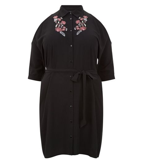Curves Black Embroidered Cold Shoulder Dress | New Look