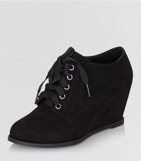 Teens Black Suedette Lace Up Wedge Ankle Boots | New Look