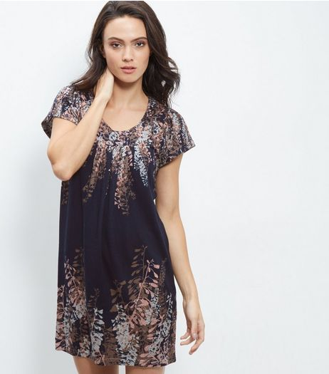 Apricot Blue Floral Print Tunic Dress | New Look