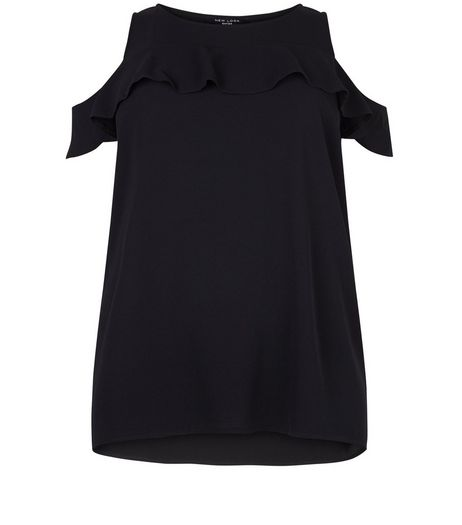 Curves Black Ruffle Fine Knit Shell Top | New Look