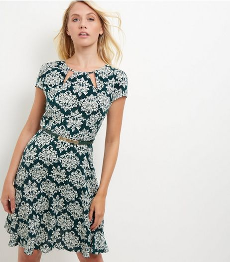 Apricot Green Abstract Print Belted Dress | New Look
