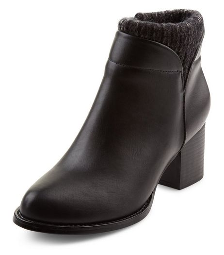 Teens Black Knitted Cuff Ankle Boots | New Look
