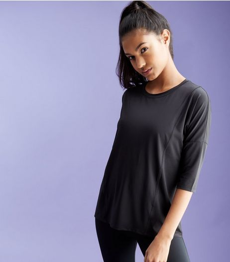 Black Mesh Panel Half Sleeve Sports T-Shirt | New Look