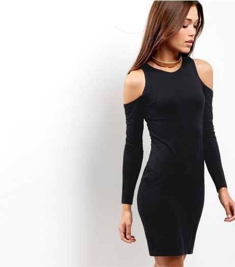 Black Cold Shoulder Bodycon Dress | New Look