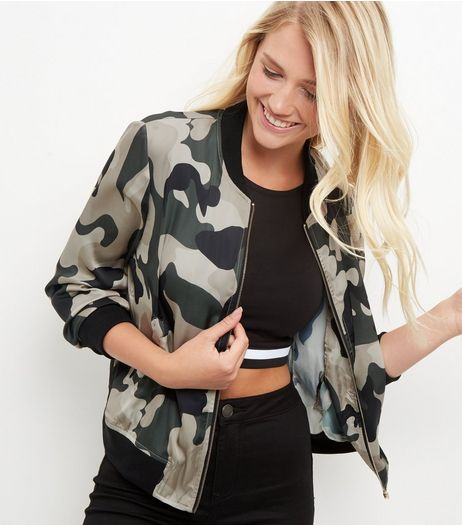 Blue Vanilla Camo Print Sateen Bomber Jacket | New Look