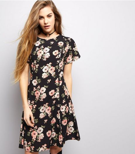 Black Floral Print Skater Dress | New Look