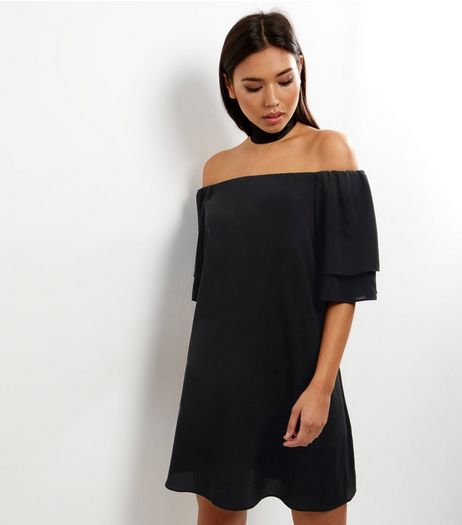 Black Layered Sleeve Bardot Neck Dress | New Look