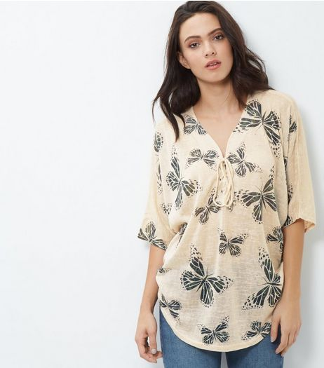 Blue Vanilla Cream Butterfly Oversized Top | New Look