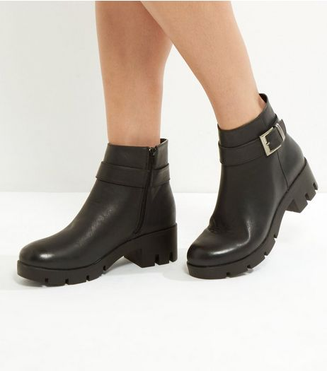 Black Buckle Strap Chunky Ankle Boots | New Look