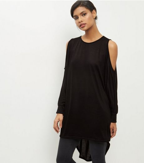 Black Cold Shoulder Batwing Sleeve Oversized Top | New Look