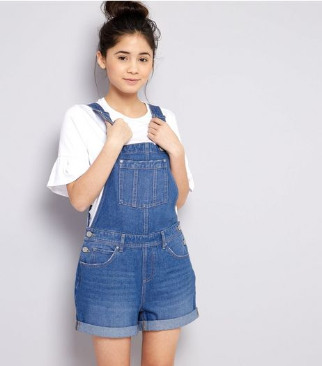 Teens Blue Denim Short Dungarees | New Look