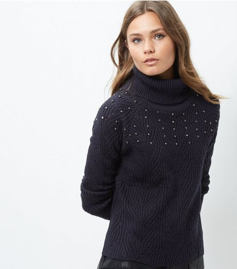 Blue Vanilla Navy Embellished Turtle Neck Jumper | New Look