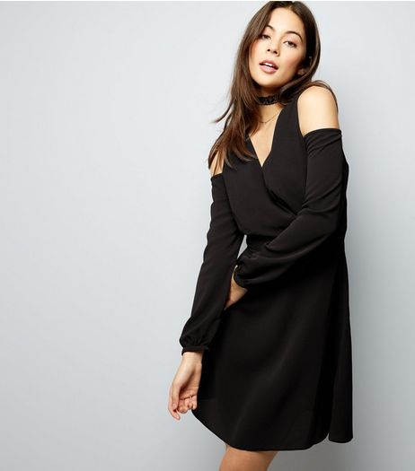 Black Cold Shoulder Wrap Front Dress | New Look