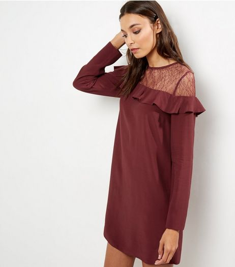 Dark Purple Lace Panel Frill Trim Tunic  | New Look