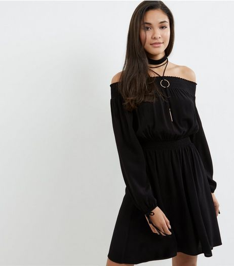Black Tie Sleeve Shirred Bardot Neck Dress | New Look