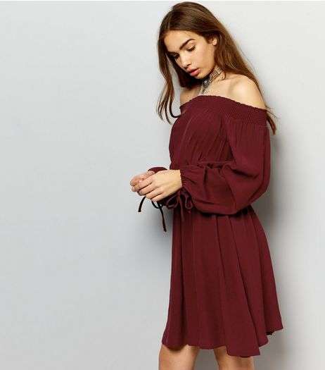 Burgundy Tie Sleeve Shirred Bardot Neck Dress | New Look